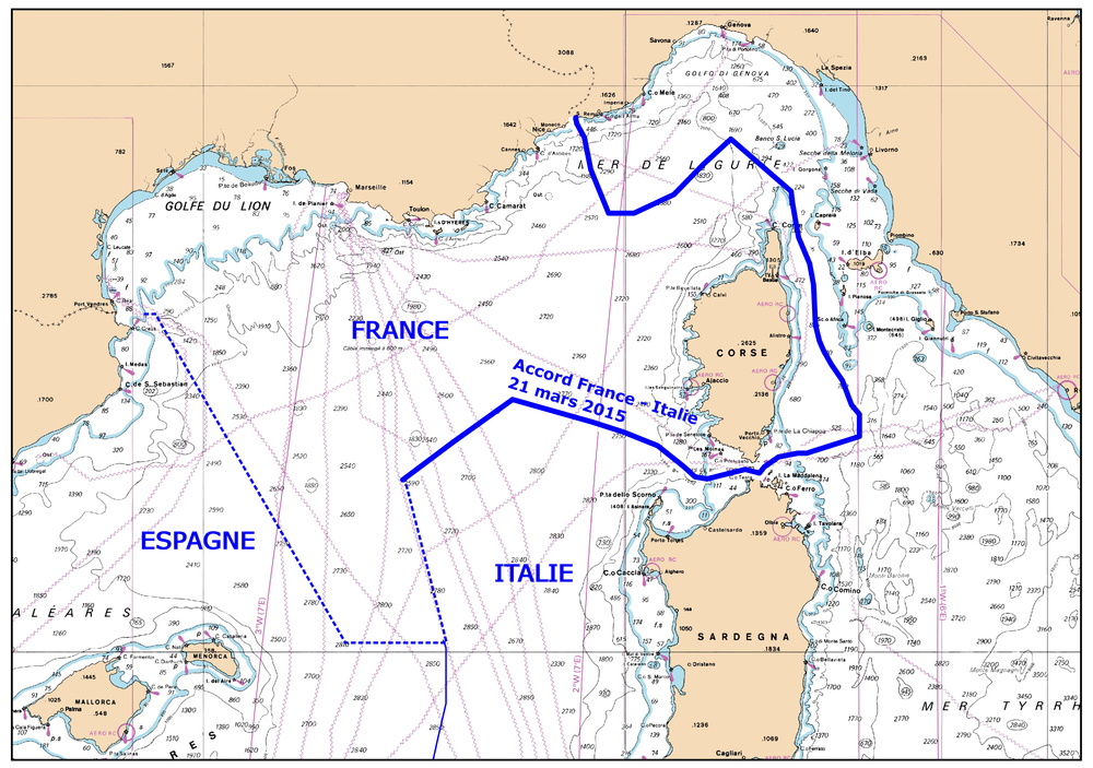 an unofficial illustration of The maritime boundary between france and italy following the parties' 2015 agreement, as rendered by france's naval hydrographic and oceanographic service (SHOM).   CREDIT: Http://www.shom.fr/le-shom/actualites/les-communiques/actualite-detaillee/article/france-de-nouvelles-frontieres-maritimes/.
