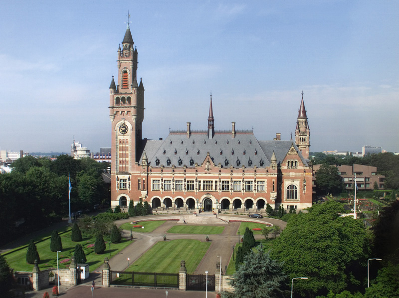 The peace palace in the hague, home of the international court of justice.     Credit: By International Court of Justice; originally uploaded by Yeu Ninje at en.wikipedia. [Public domain], via Wikimedia Commons.
