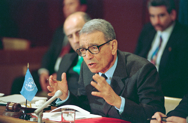 Boutros Boutros-Ghali, as UN Secretary-general.   Credit: UN Photo,  http://www.unmultimedia.org/photo/gallery.jsp?query=boutros-ghali .