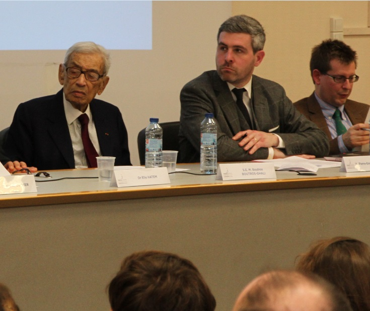 Boutros Boutros-Ghali and the author, at a february 2013 conference on international sanctions.