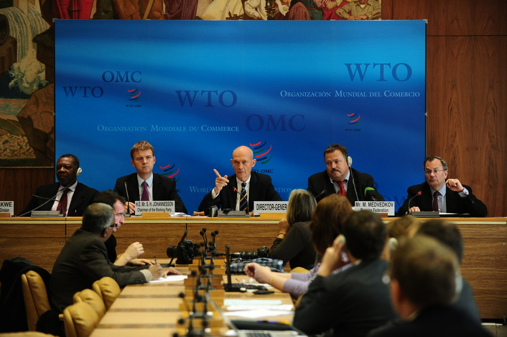 Former Director-General Pascal Lamy presiding over russia's accession to the wto (geneva, 2011).   credit: By World Trade Organization from Switzerland (Accession of Russia) [CC BY-SA 2.0 (http://creativecommons.org/licenses/by-sa/2.0)], via Wikimedia Commons.