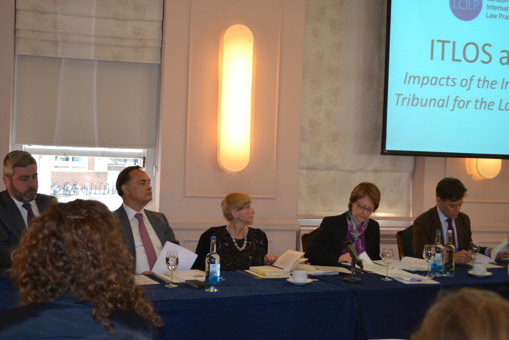 FROM L TO R:     PIERRE-EMMANUEL DUPONT (HEAD OF PUBLIC INTERNATIONAL LAW, LCILP); H.E. JUDGE VLADIMIR GOLITSYN (PRESIDNT, INTERNATIONAL TRIBUNAL FOR THE LAW OF THE SEA);   MALGOSIA FITZMAURICE (PROFESSOR OF PUBLIC INTERNATIONAL LAW, QUEEN MARY UNIVERSITY); JILL BARRETT (SENIOR RESEARCH FELLOW, BRITISH INSTITUTE OF INTERNATIONAL AND COMPARATIVE LAW); COALTER LATHROP (PRESIDENT, SOVEREIGN GEOGRAPHIC).
