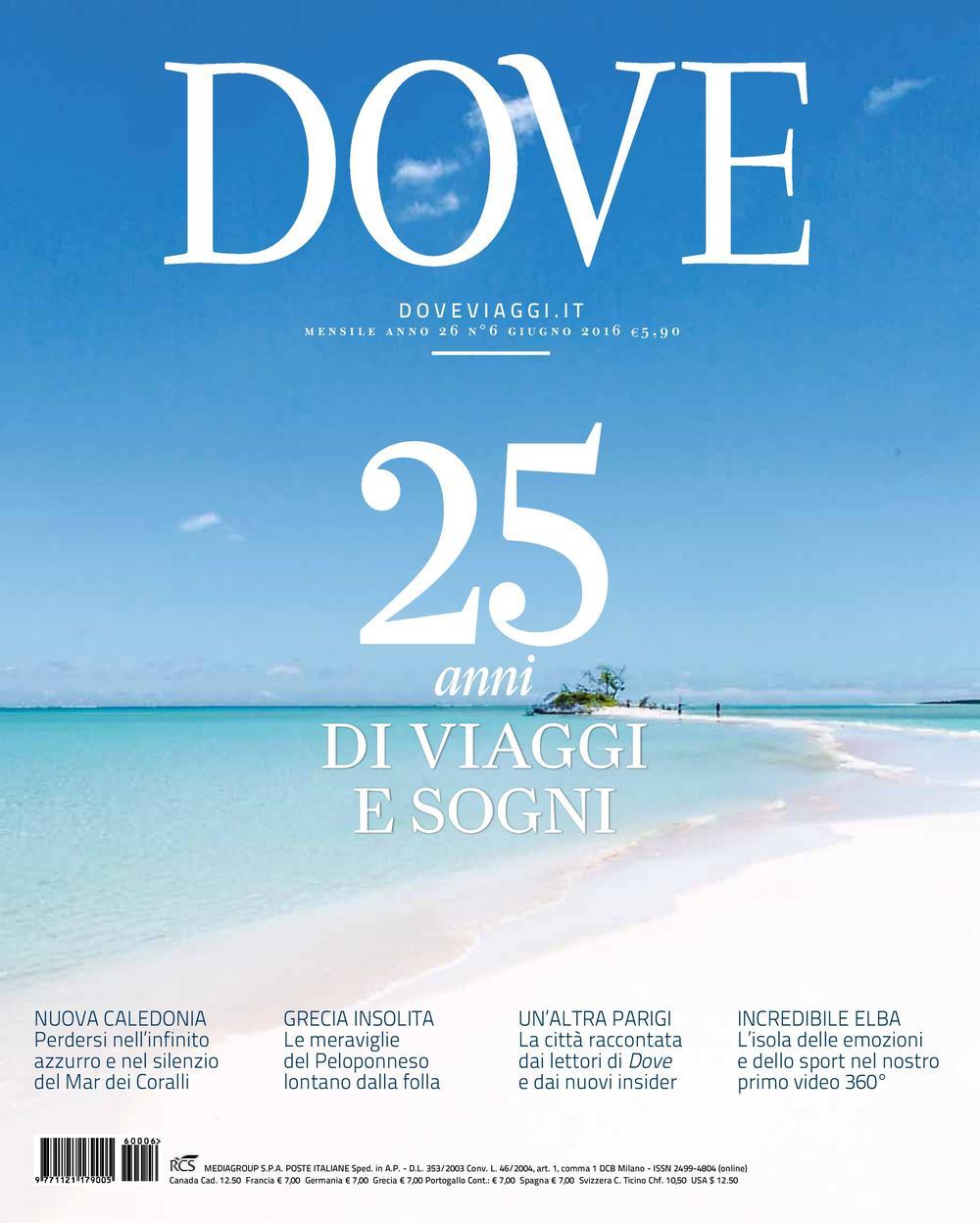 Cover of the 25th anniversary of the magazine DOVE VIAGGI