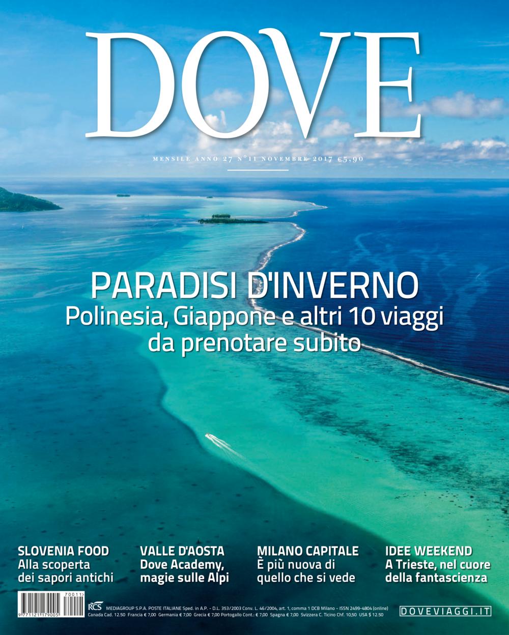 COVER OF THE NOVEMBER ISSUE OF THE MAGAZINE DOVE VIAGGI