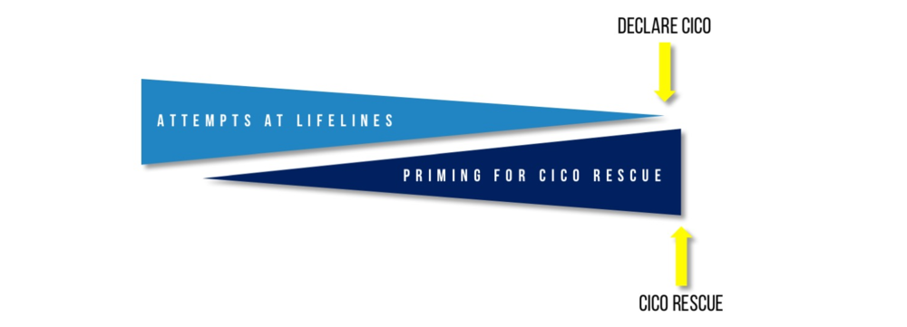 Diagrammatic representation of the parallel processes of prevention & priming for CICO. Priming allows CICO Rescue to be implemented with minimal delay when a CICO situation occurs