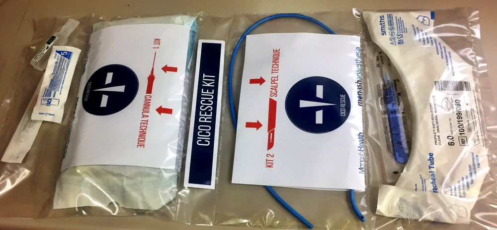Monash Health (Melbourne, Australia) CICO Rescue Kit Cannula Kit Contents: 15G Insyte cannula, 5ml syringe, 10ml 0.9% Saline, Rapid O2 insufflation device. Scalpel Kit: Size 10 broad blade disposable scalpel, Size 6.0 cuffed ETT, Frova intubating catheter, Cook 15mm Rapifit adaptor. Additional: Restock instructions