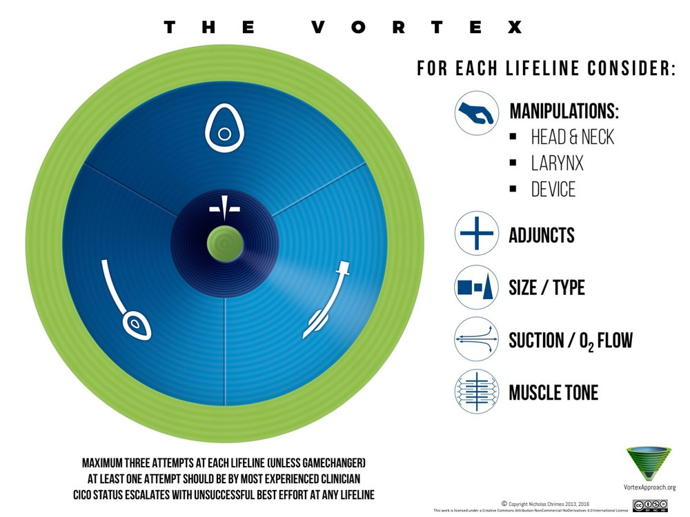 Developing an airway strategy involves addressing each of the domains of the Vortex tool: Lifelines, CICO rescue & Green Zone