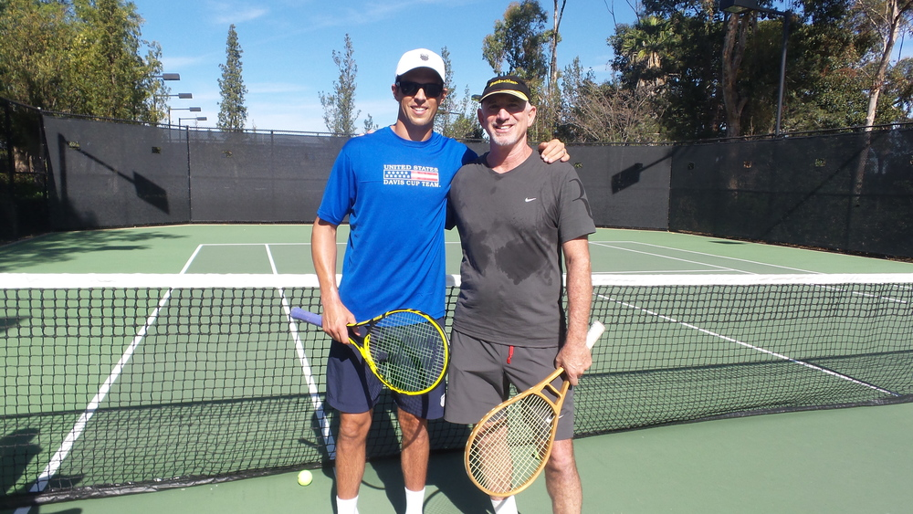 "Mike Bryan and Jack Broudy after a ""hit"" in So Cal 2015"
