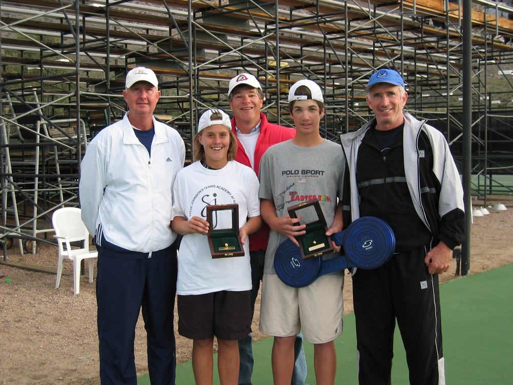 Steve Johnson Sr, Steve Johnson, Mike Forman, Steve Forman, Coach Jack Broudy, San Antonio, TX National Hardcourt Winners - 8-Board played a big role in winning Singles and Doubles