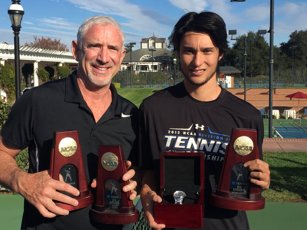 Warren Wood and Coach Jack Broudy celebrate after Warren wins NCAA titles: Singles, Doubles, Team and ITF Player of the Year. Broudy has been Warren's only coach from 5yo.