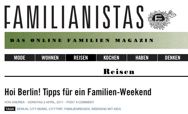 familianistas - Tipps für ein Familien-Wochenende in Berlin