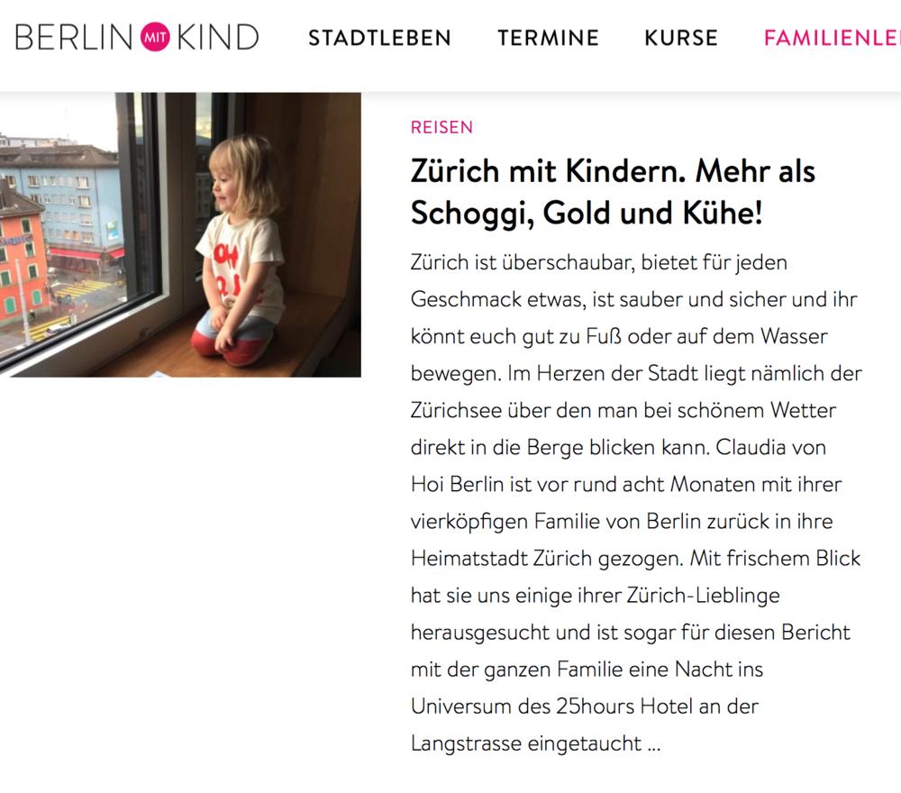 BERLIN MIT KIND - Ein paar Reise-Tipps für den nächsten Trip nach Zürich mit Kindern