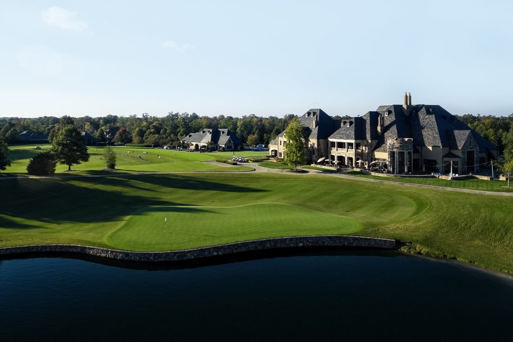 aerial view of the 18th hole at the club at longview