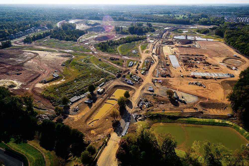 Aerial view of Rea Farms development in south Charlotte.