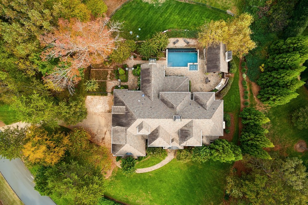 aerial view of lake norman home in charlotte, nc in the sanctuary subdivision.