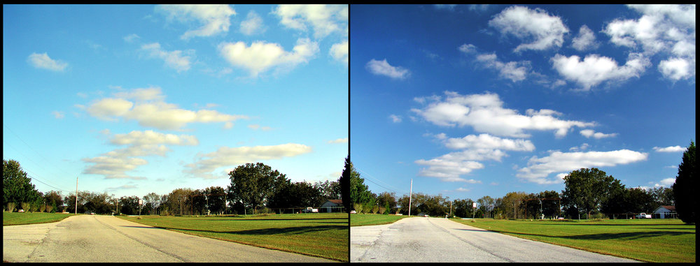 left to right: no polarizer used, circular polarizer used to darken sky