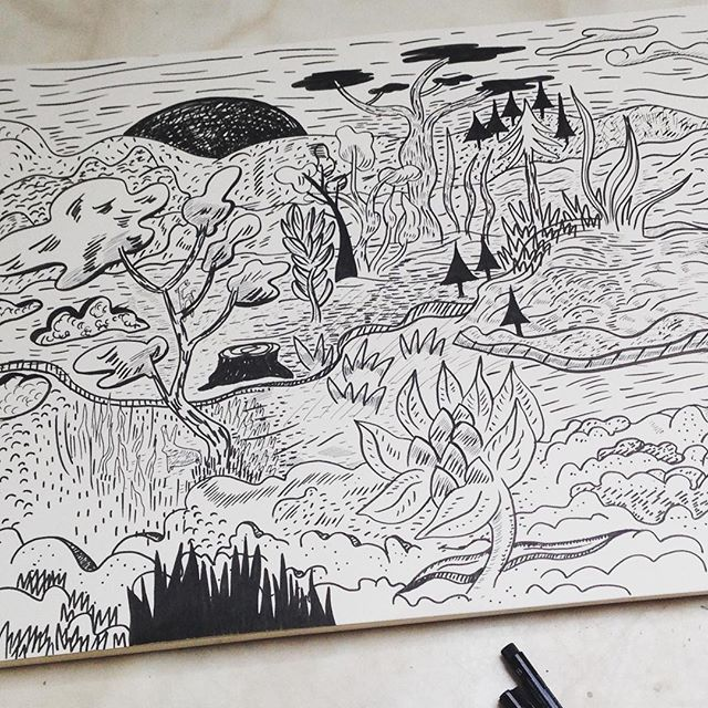 Yesterday I treated myself with some new pens with different tips. Testing them I got taken way to an unknown landscape. #testingpens #pentips #drawingink #inkonpaper #drawinglandscape #neonpantheon #nadineprange #drawingoftheday