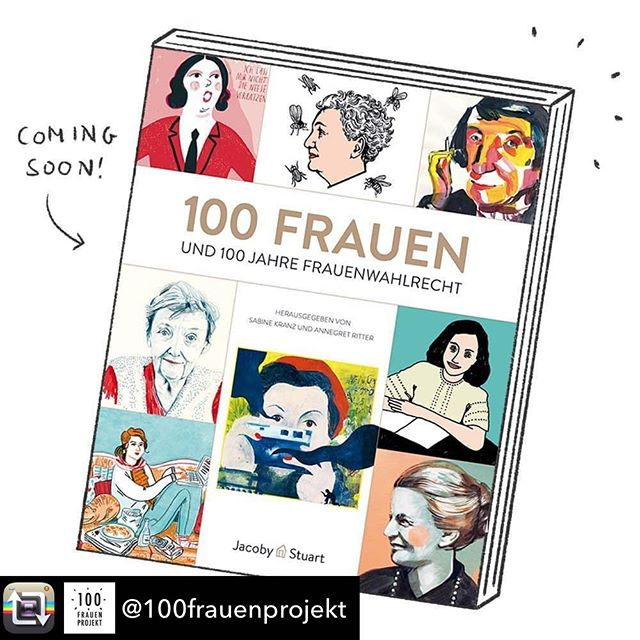 "Preview of the book ""100 Frauen und 100 Jahre Frauenwahlrecht"" (release: end of September). A hundred inspiring women are portrayed by 65 female illustrators. I contributed two drawings, one you can already see on the cover (the First lady on the top; #clairewaldoff ). I am looking forward to hold the book in my hands! Thanks to the editors #sabinekranz and #annegretritter and the publishing company #jacobystuart #100frauenprojekt #100frauen #newbook #womenssuffrage #drawingwomen #womenportraits #frauenportrait #frauenwahlrecht #femalepower #100women"