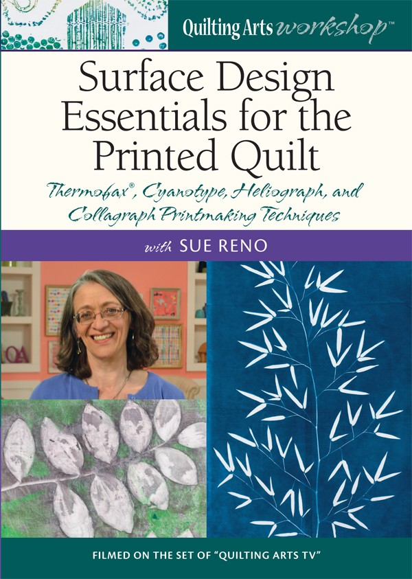 Transform prints, paints, and photos into vibrant art quilts with Sue Reno Join award-winning quilter and surface design expert Sue Reno for this Quilting Arts Workshop™ video dedicated to teaching you best practices for altering your fabric using for distinct surface design techniques. Follow along and learn how to use paints, dyes, and chemicals to add custom images, prints, and botanical shapes to your fabrics. Begin by exploring cyanotype and how to create crisp custom blue-and-white patterns with this technique. Want more color and variation? Try your hand at making heliographic sun prints using paint and plant specimens. Sue demonstrates how to add interest to quilt designs with Thermofax® and collagraph printing techniques with stunning examples of each. Order your copy of this Quilting Arts Workshop today to: Explore four different print making techniques that will yield unique and striking prints. Get an in-depth demonstration of the printing methods and materials, along with detailed directions. Learn how to incorporate the printed fabrics into your art quilts, with Sue's vibrant examples. And much more!
