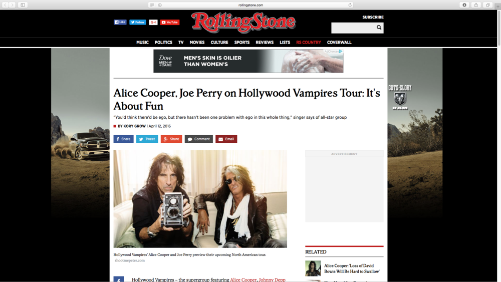 Rolling Stone article featuring my snap of Alice and Joe