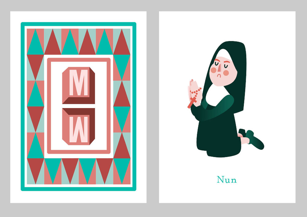 Card back and front design, respectively
