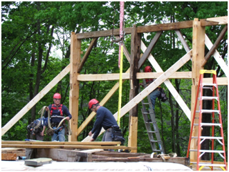The new old barn was raised by Preservation Timber Framing during the 250th anniversary celebration of Lee.