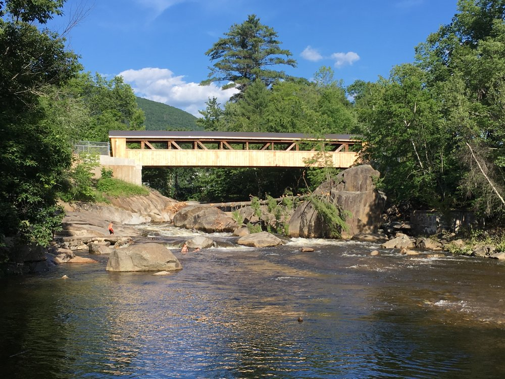 The former Goffe's Mill Covered Bridge at its new location in Wentworth