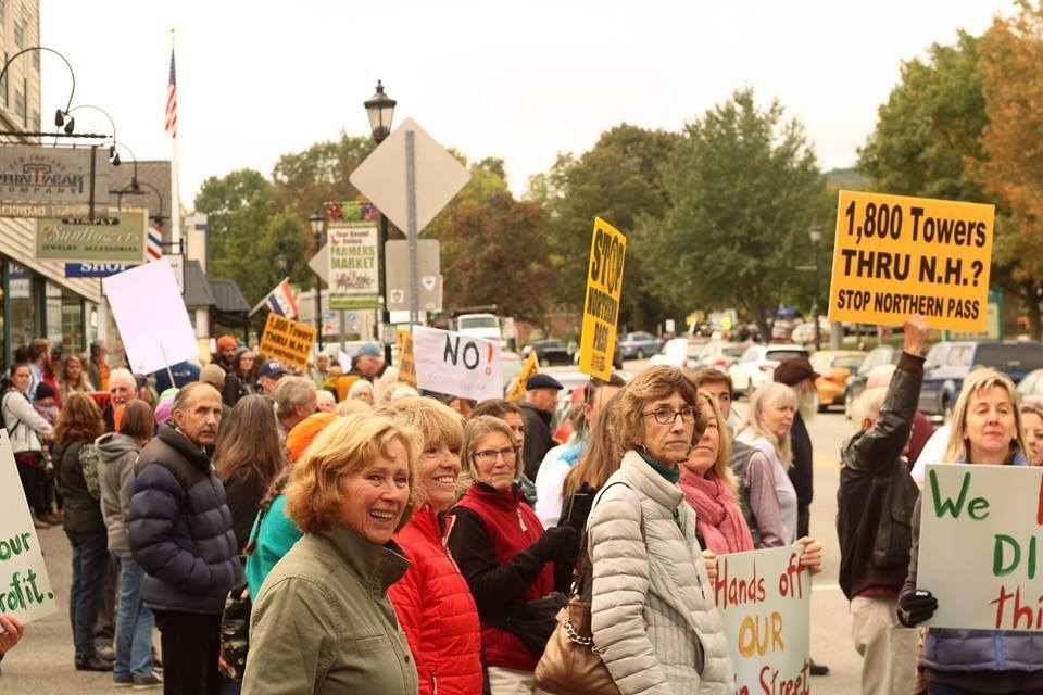 Here is a crowd opposing the project at a rally in downtown Plymouth during a site visit by members of the SEC. Photo: Kristen Buckley