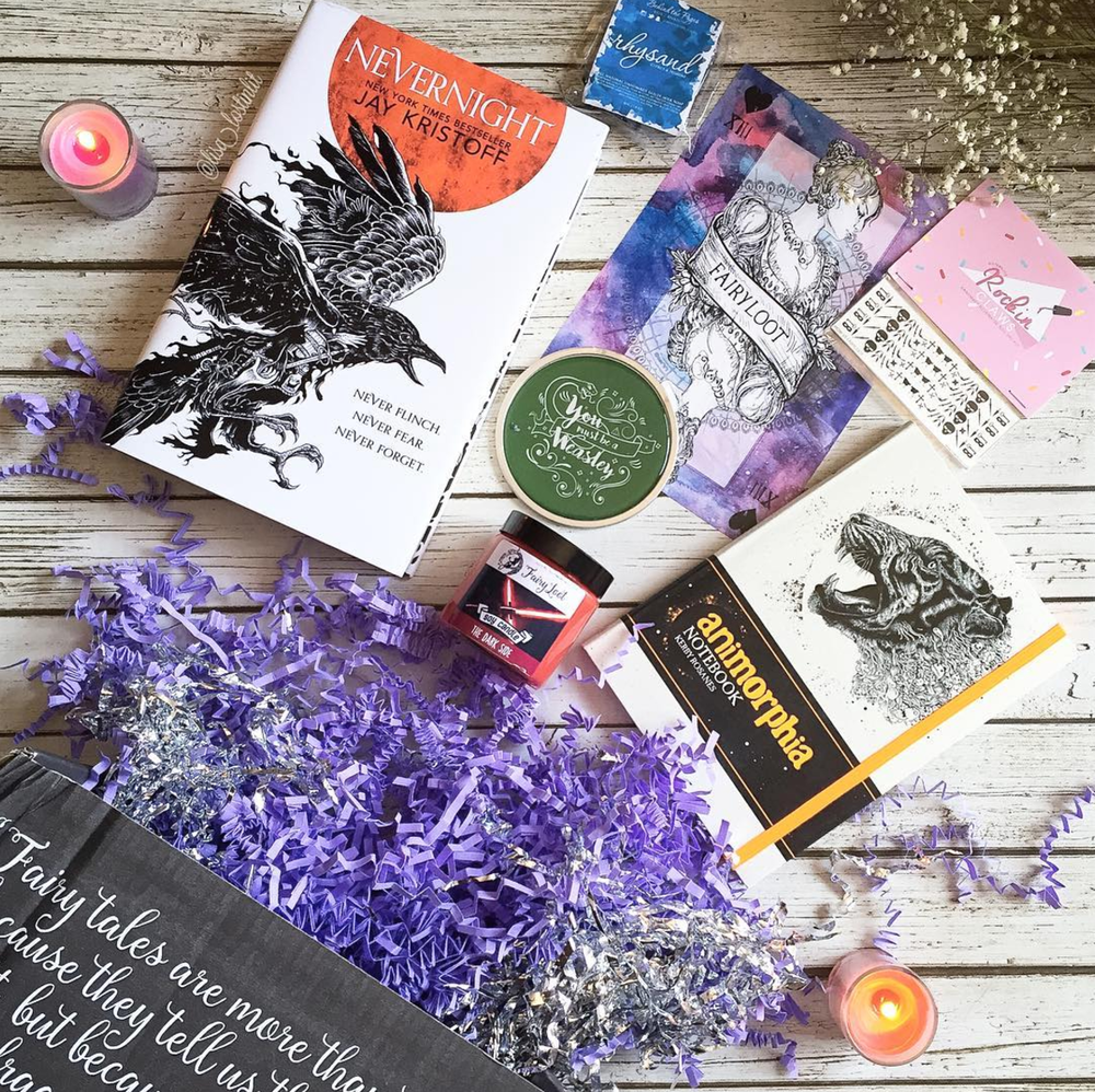 DARK DEEDS - AUGUST 2016IMAGE BY @LISA_LOSTINLITNevernight by Jay KristoffSigned bookplate, personalised letter, art card, bookmarkExclusive Malfoy Quote Coaster (Bookotter)Exclusive The Dark Side candle (Geeky Clean)Rhysand Soap (Behind The Pages)Animorphia Colouring Notebook (Kerby Rosanes)Exclusive Assassin Nail Decals (House of Wonderland)WATCH EMMA'S UNBOXING VIDEO