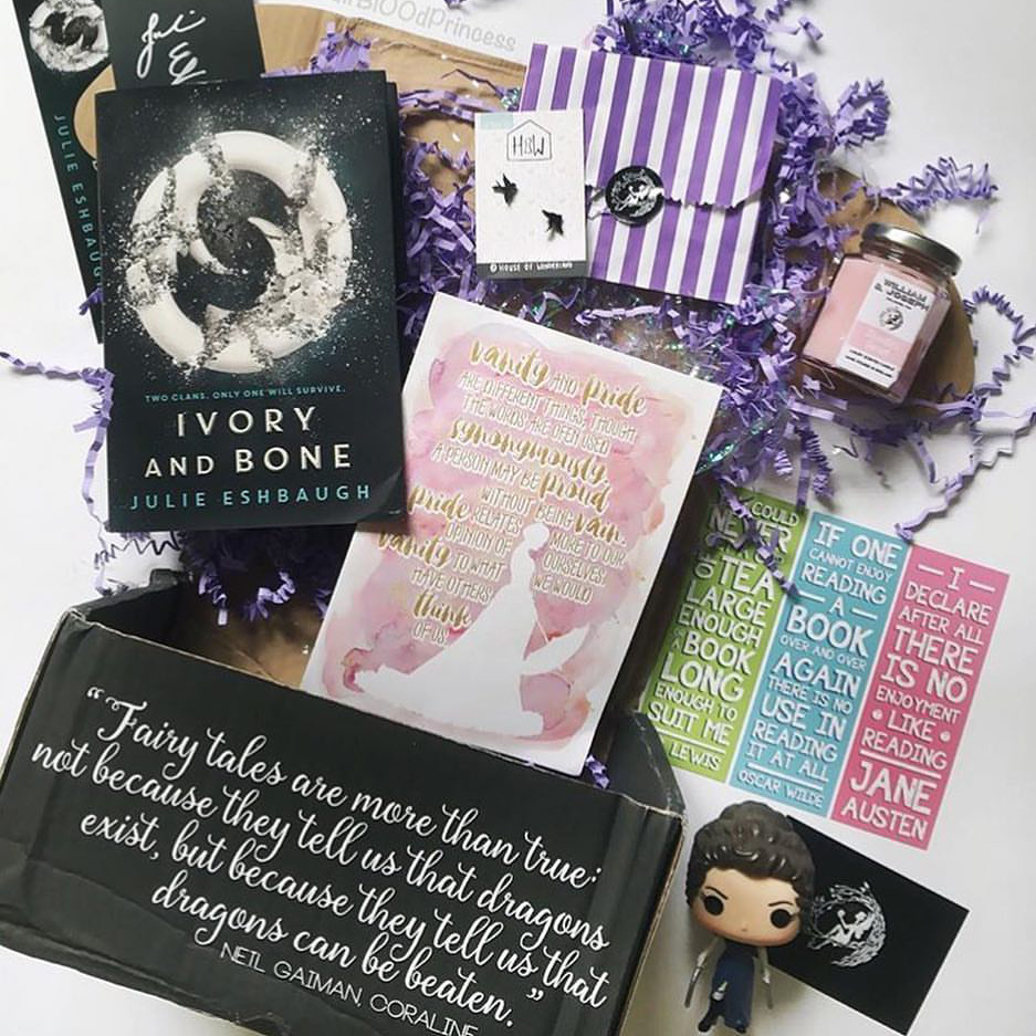 CLASSIC TWIST - JUNE 2016IMAGE BY @_HALFBL00DPRINCESSIvory and Bone by Julie EshbaughSigned bookplate, bookmark, postcard and signed letterPride and Prejudice Zombies Pop Vinyl (Funko)Exclusive Brontë's Secret Candle (William and Joseph)Set of Literary Classic Quote Bookmarks (Fable and Black)Black Swallow Silhouette Earrings (House of Wonderland)Pride and Prejudice Mini Watercolour Poster (FairyLoot)Bonus: Chapter 5 Proud to be Bookish braceletWATCH HEATHER'S UNBOXING VIDEO