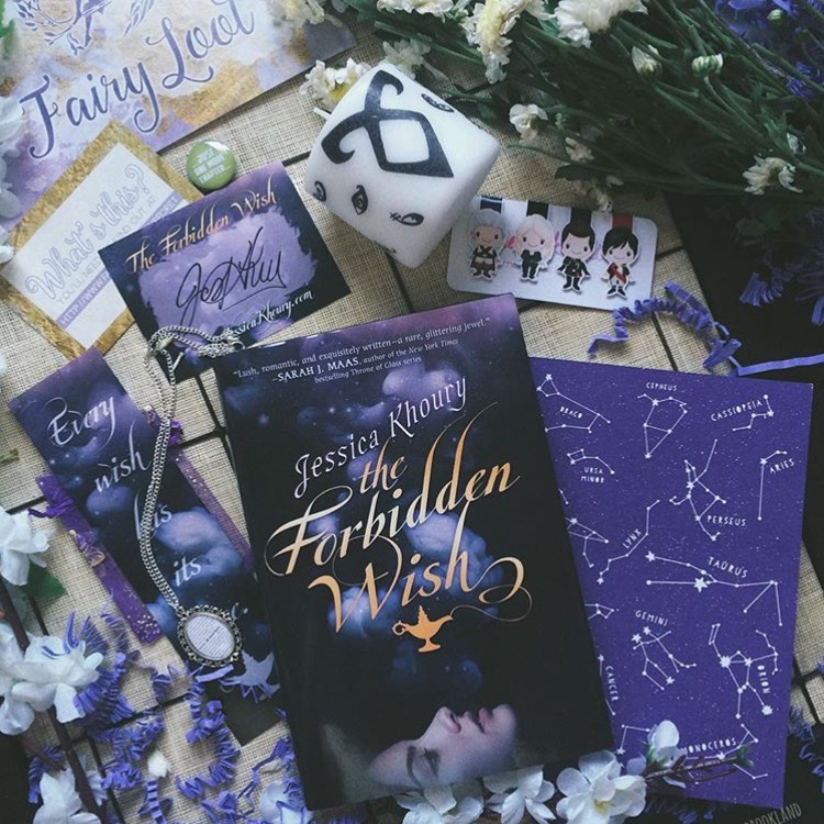RETELLING - MARCH 2016IMAGE BY @ALICE.IN.WONDERBOOKLANDThe Forbidden Wish by Jessica KhourySigned bookplate and bookmarkThrone of Glass magnetic bookmarks (TheStickerAlley)Exclusive Shadowhunter Runes candle (MurrayMayDesigns)Alice in Wonderland necklace (BunnyBeadsUK)Star Constellations notebook (NewtonAndTheApple)Book lover badge (ButtonNook)WATCH BEN'S UNBOXING VIDEO
