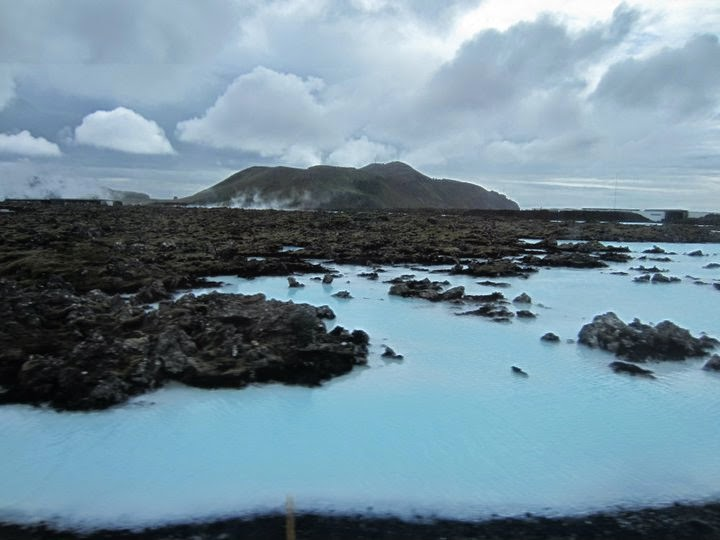 "An unedited photo that I took of the ""blue lagoon"" in Iceland. You can swim in the warm water and cover your body in the silicone-based mud."