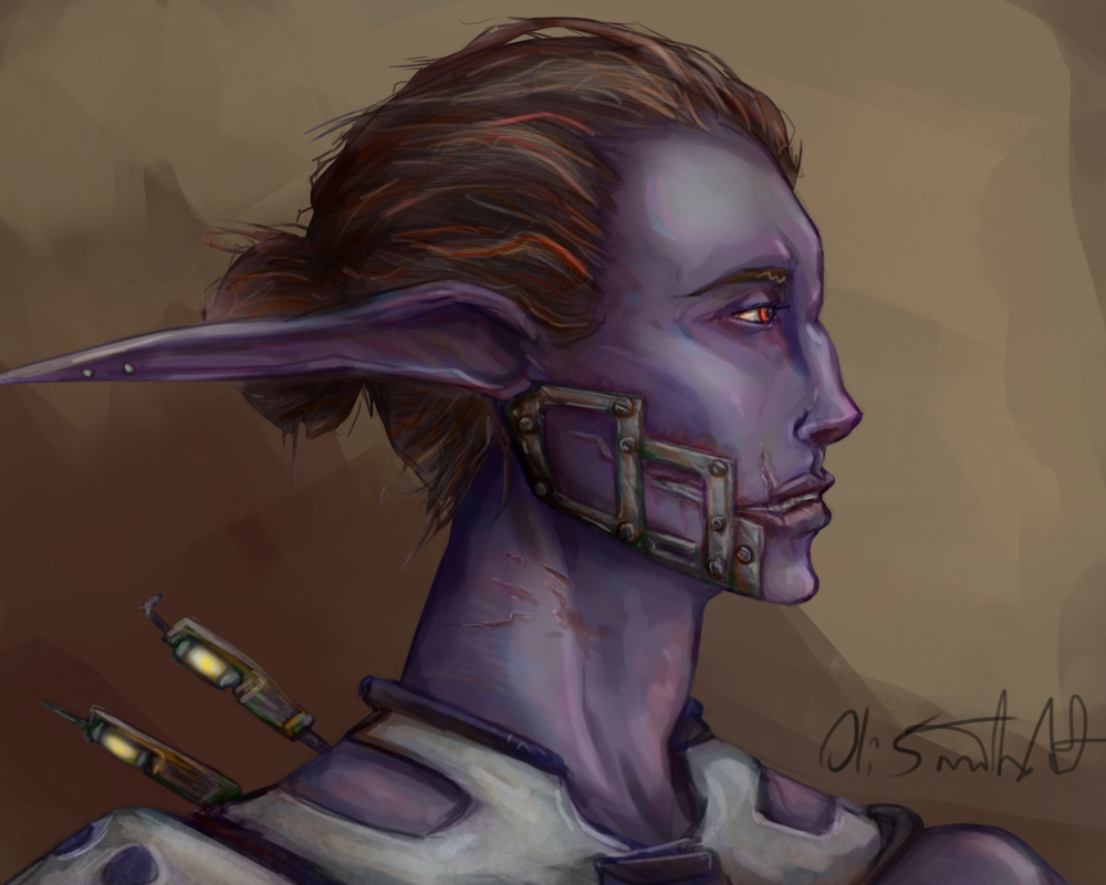 This Dark Elf Raider sketch came to me. A good look at the aesthetics of Mikome.