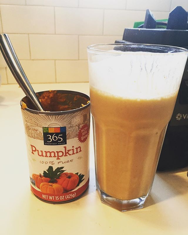 Obsessed with pumpkin smoothies lately! 😍 this is so freaking good and it's only four ingredients: puréed pumpkin, orgain vanilla plant-based protein powder, water, and ice. Yum! @drinkorgain #smoothie #eatclean