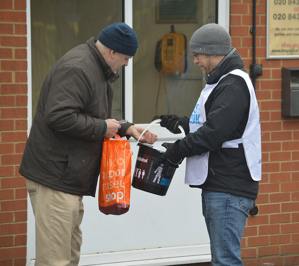 Collecting for Prostate Cancer UK at AFC Wimbledon v Charlton Athletic.  (Pic: Matt Benjamin)