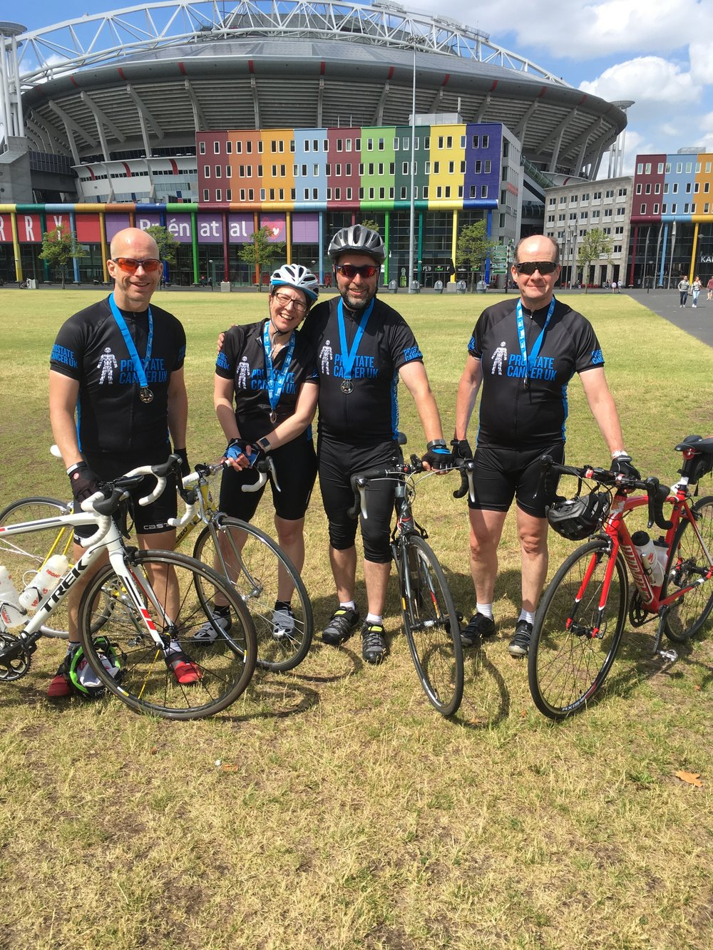 At the finish with fellow AFC Wimbledon riders Anita, Paul and Sean.