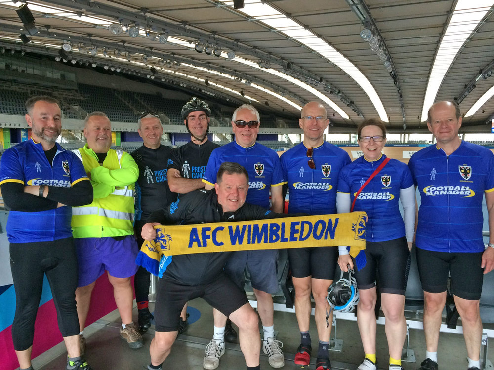 With the AFC Wimbledon contingent at the Olympic velodrome before the start.