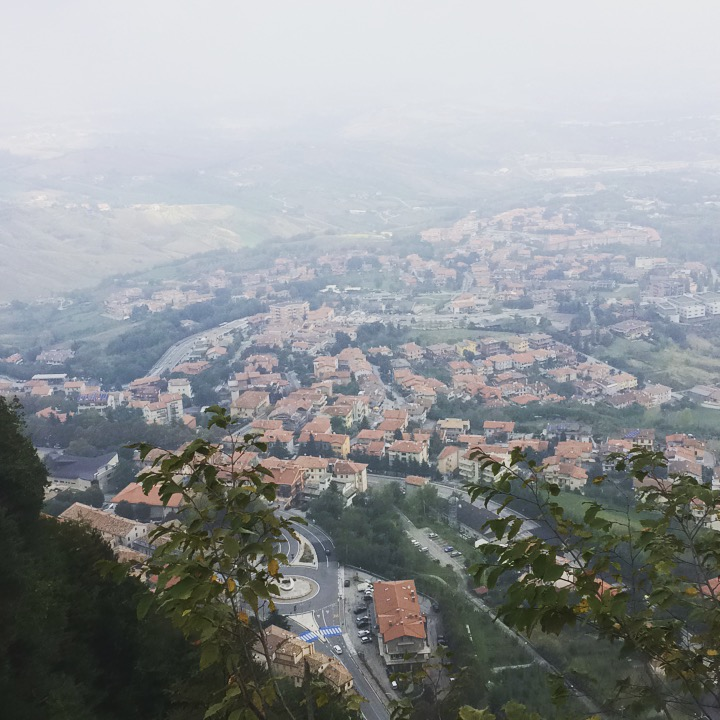 View on a misty day from Castello della Guaita.  (Photo © 2017 Rob Crane)