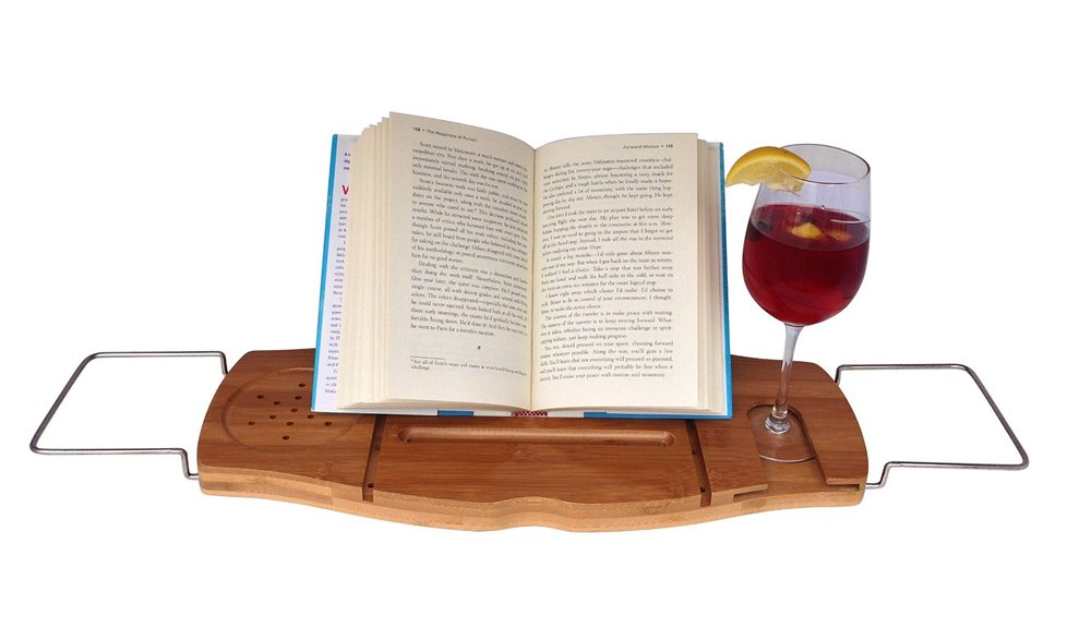 Bathtub Caddy with Wine Glass Holder & Reading Rack