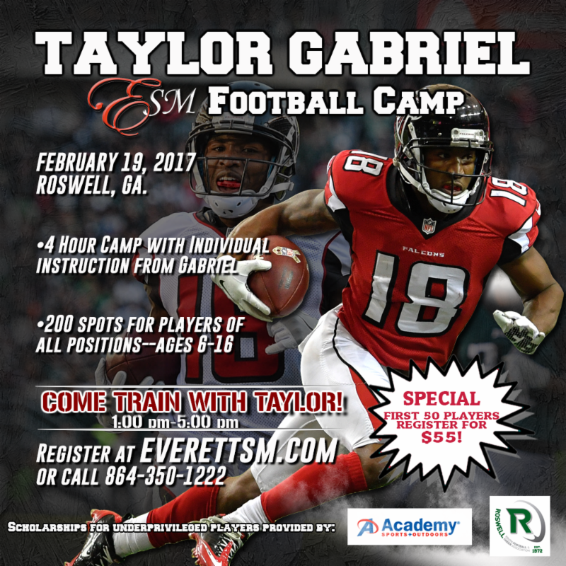 Taylor Gabriel will be conducting a football camp right here in Roswell.