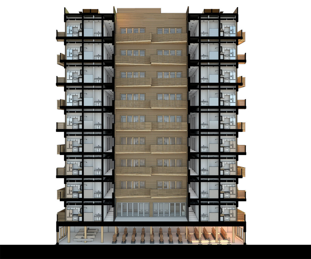 NYC Micro Dwellings' Section Perspective