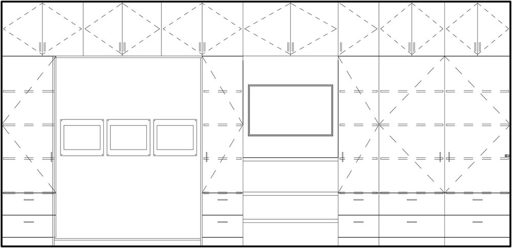 Elevation of storage wall with Murphy bed