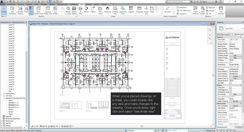 Working with views on project sheets in Revit