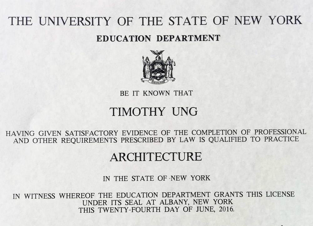 Tim Ung Architect Registration