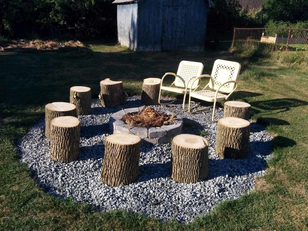 Logs as seating around fire pit