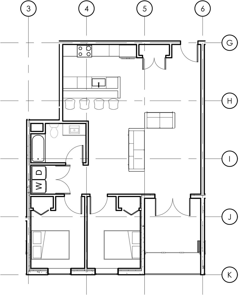 Two bedroom apartments on odd numbered floors