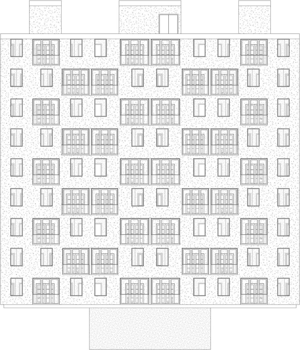 Building elevation showing all public housing floors