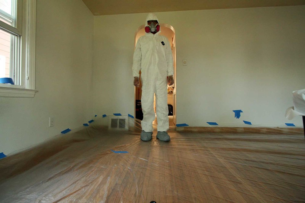 Wearing my bunny suit to remove the textured ceiling