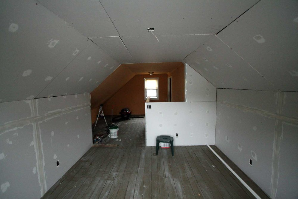 Drywall in attic