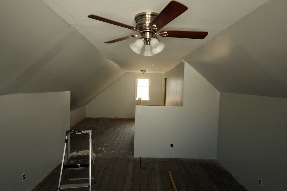 Painting attic walls